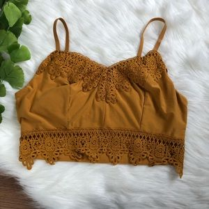 Mudd Mustard Yellow Crop Lace Top Layering Bralet